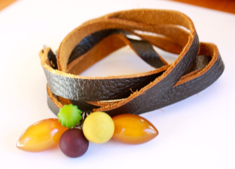 Cornucopia Lucite Bauble Wrap Bracelet - Soft 4 Strand Cord Wrapped Cuff - Leetie