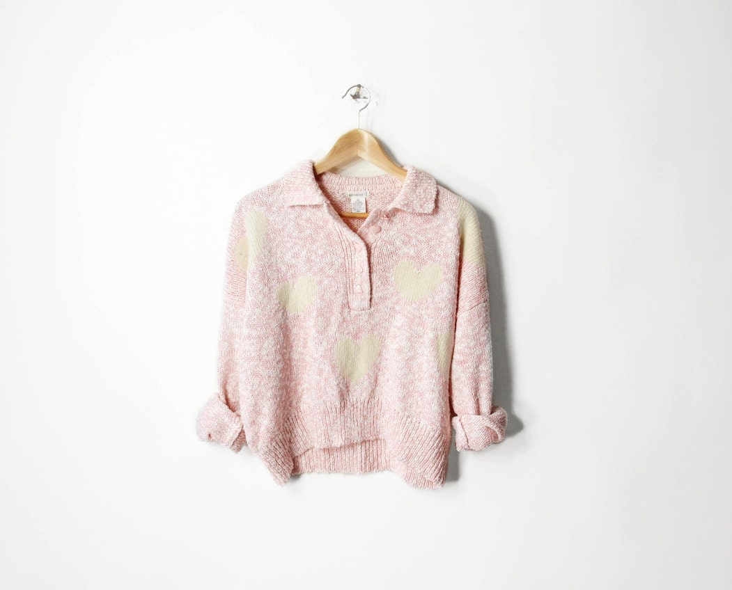 Vintage Pretty in Pink Angora Hearts Sweater - s/m/l - twigandspokevintage