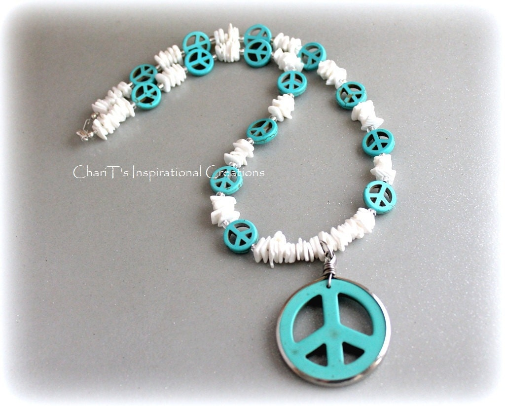 Turquoise and White Handmade Shell Peace Necklace