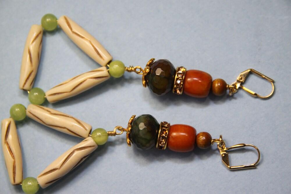 "3"" 3/4 L Triangle dangle earring, Jade stones, Coffee Agate stones,  bone, wood"