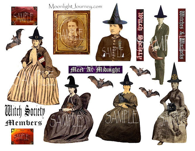 WiTcH SoCiEtY MeMbErS collage sheet large witches warlocks halloween gothic vintage word strips man woman