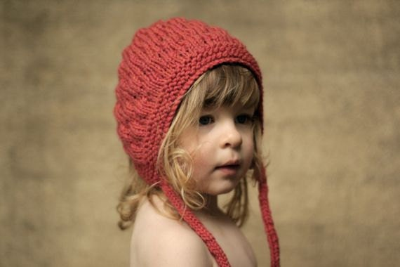Bumpy Bonnet, Watermelon, Toddler Size. Handmade, Vintage-Inspired Woollen Hat