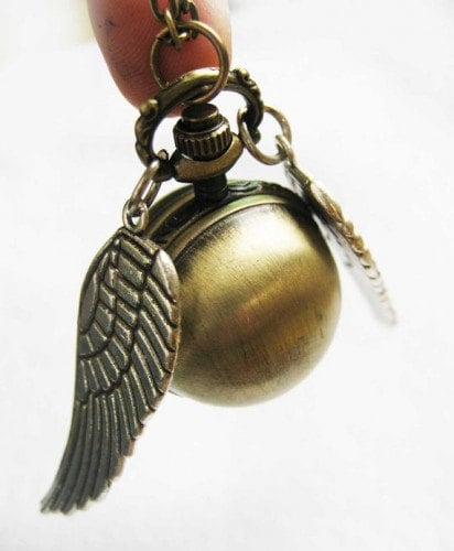 Harry Potter Enchanted Golden Snitch Ball WATCH locket with Double Sided  Silver Wings