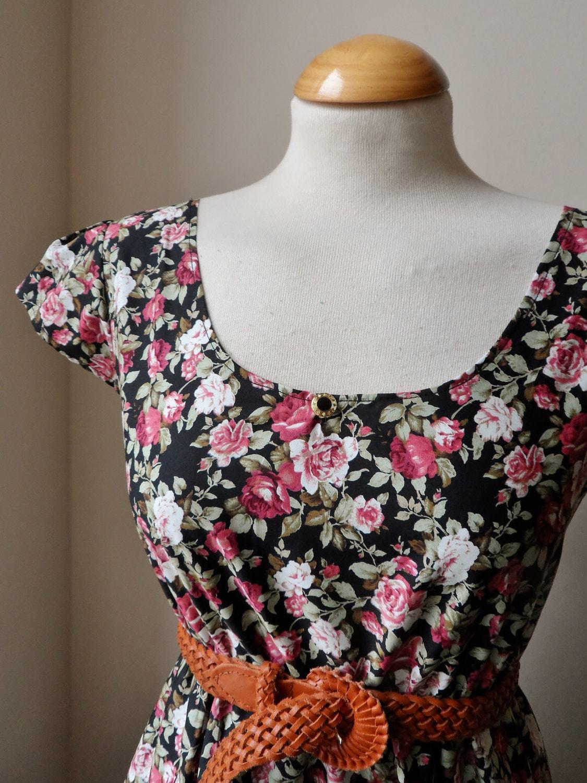 Jennifer Lilly Handmade Beautiful Black Floral Rose Cotton Tea Dress Rose Pink Green White // Boho Vintage Whimsical Dress (XS,S,M,L,XL,XXL) - jenniferlillydesigns