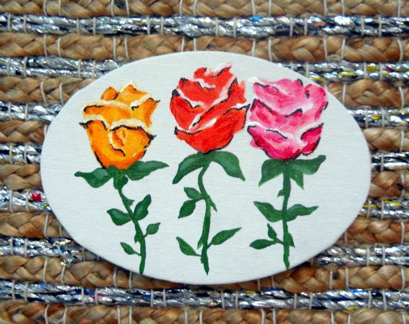 Retro Roses original acrylic painting - PreciousBeast