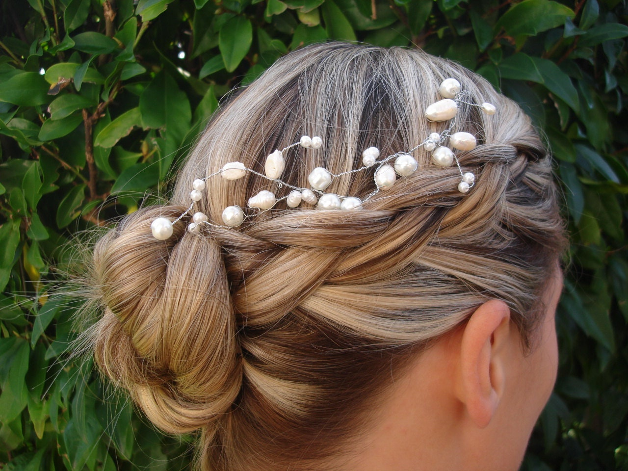 Bridal Pearl tiara wire wrapped hair accessory - Bridal Collection Style 003