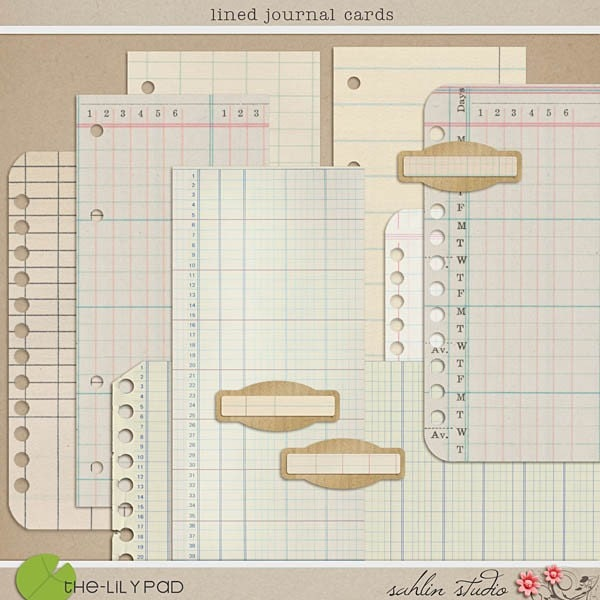 Lined Journal Cards - Digital Scrapbooking Element Papers  INSTANT DOWNLOAD - sahlink