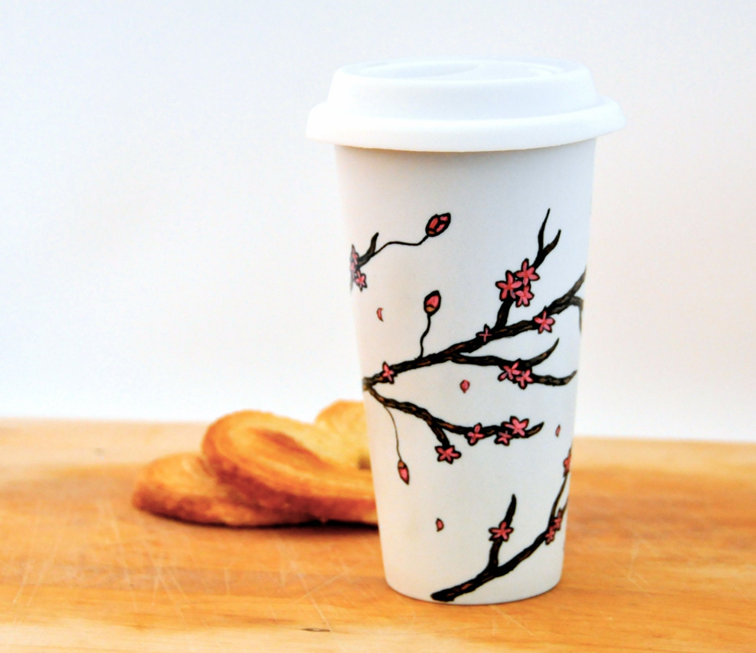 Cherry Blossoms Travel mug - Made to Order - Hand Painted porcelain eco-cup - Red and White - Silicon lid