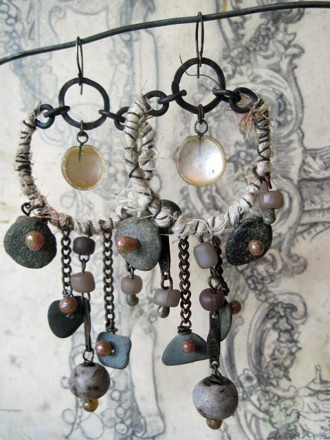 Enki of the Water of Life. Rustic Gypsy Victorian Tribal Assemblage Earrings.