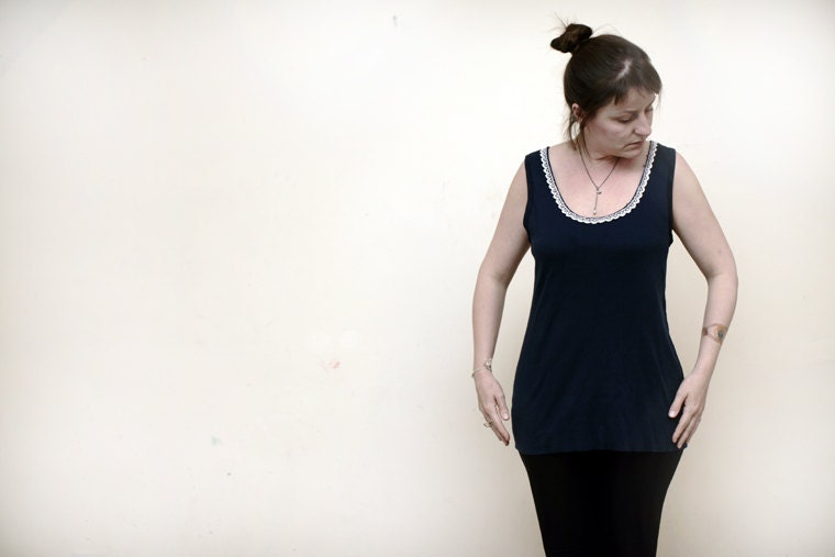 Hand stitched Tank Top/Tunic in blue with lace - Add a bit of glamour. - icancu2