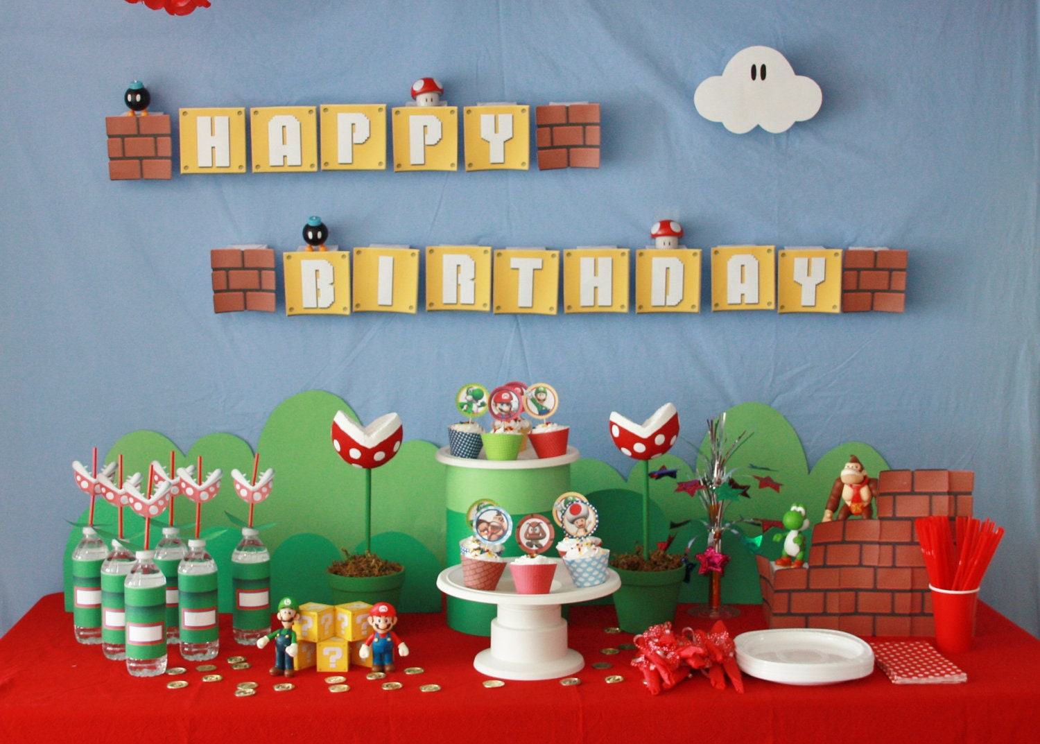 Super mario theme party on pinterest super mario cake for Mario decorations