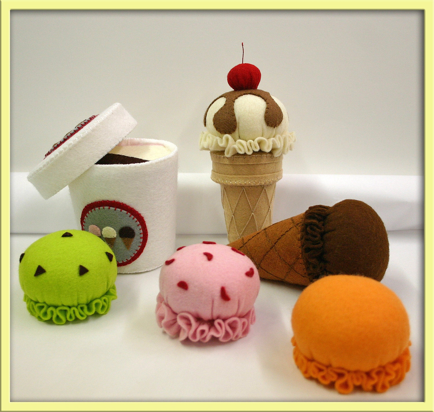 Wool Felt Play Food - Ice Cream Set - Waldorf Accessory for Imaginative Play