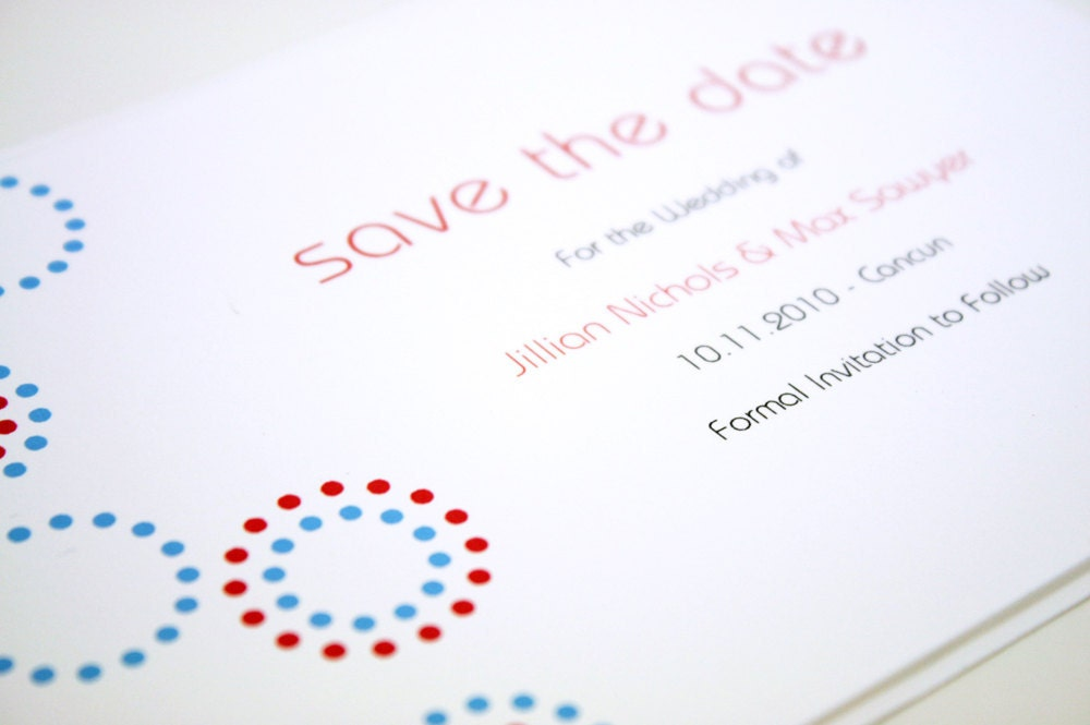 Wedding Save the Date Card Sample Blue and Red Dots