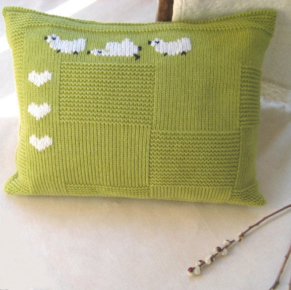 Knit Pillow Case Apple Green Embroidery Decorated 12x16 inch Wool/Acrylic Children Rustic Easter Handmade by Margity