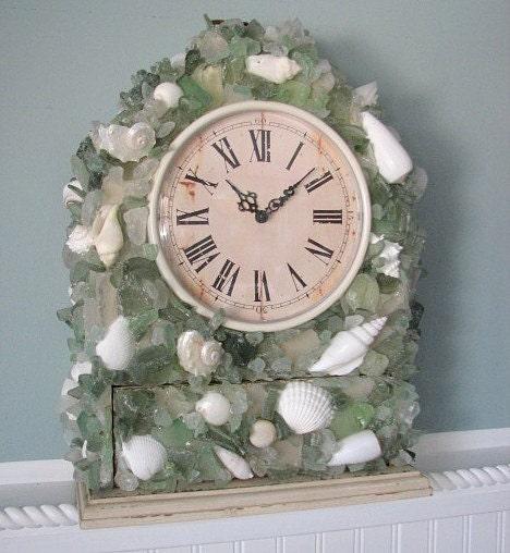 Пляж Декор моря стекло Часы - стекла моря и Shell часы, выберите желаемый цвет
