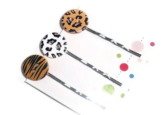 3pc Hair Pin Set Animal Prints, Fun Summer Hair Jewelry - BodegaBayJewelry