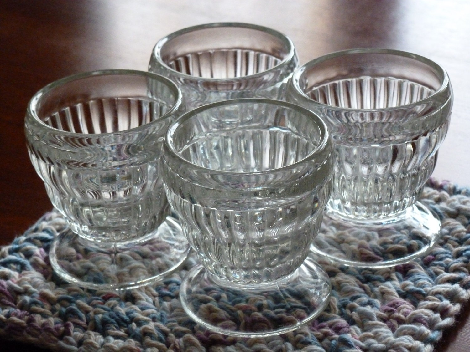 BLACK FRIDAY Etsy - Footed Juice Glasses,  Depression Era, Set of Four, OOAK - MercysVintageHome