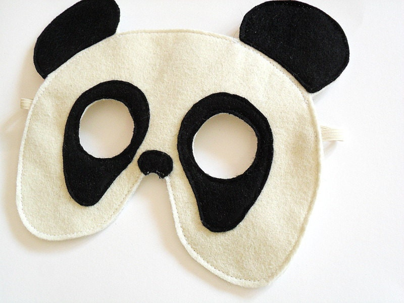 Panda Bear Felt Mask for Children, Kids Animal Halloween Carnival Mask, Dress up Costume Accessory, Pretend Play Toy for Girls Boys Toddlers - BHBKidstyle