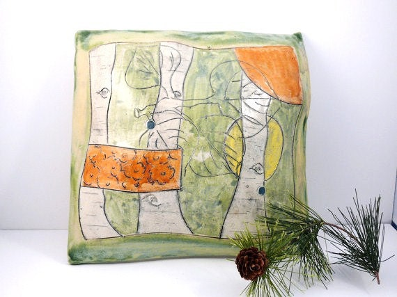Wall Pillow 3-D ceramic hanging tile in green and orange / home decor / woodland forest / wall tile