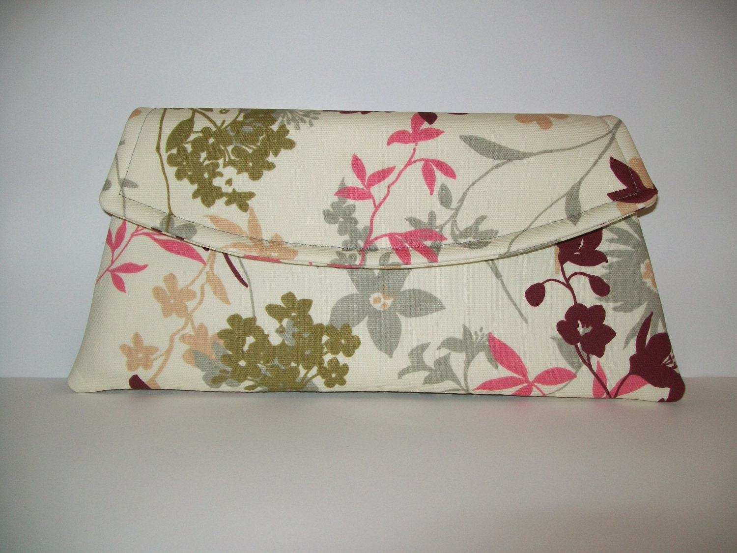 Cream, Gray, Green, Pink, Red Leaves/Floral - Classic Angled Clutch