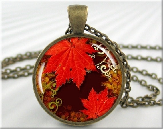 Autumn Art Necklace Pendant Resin Pendant Leaf Jewelry Fall Season Necklace Picture Pendant (002RB) - MGArtisanPendants