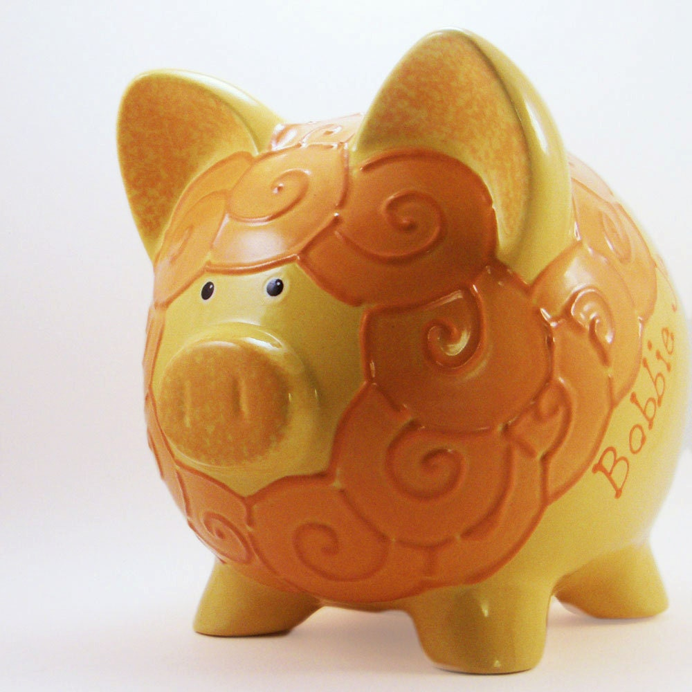 Personalized Piggy Bank - Lion - Yellow & Orange - with hole or NO hole in bottom - ThePigPen