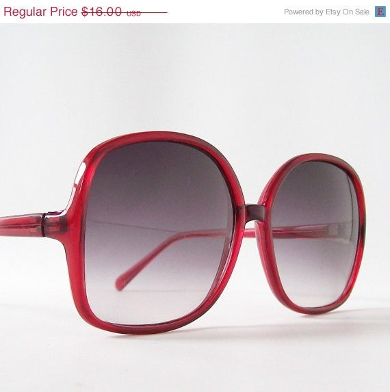 20% Off vintage sunglasses red sun glasses purple lenses summer over sized big eye frames chic glam retro bohemian boho - RecycleBuyVintage