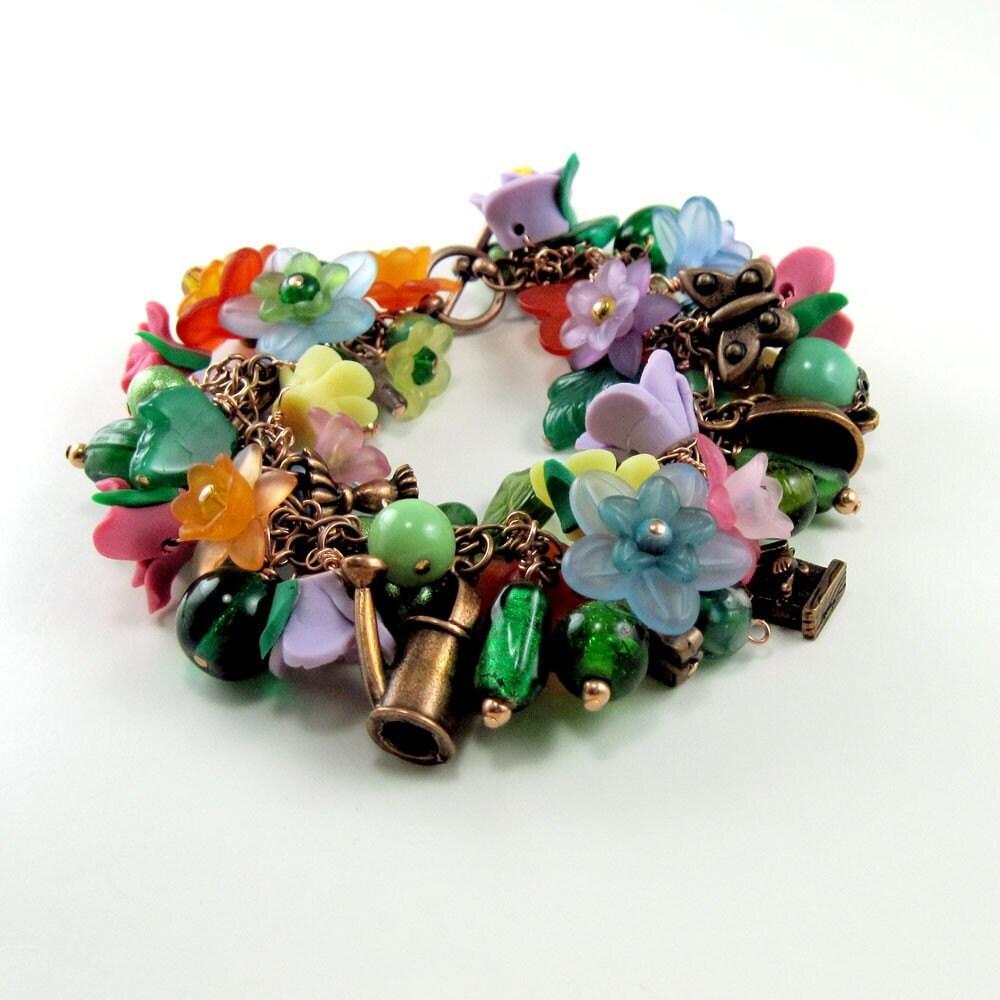 Gardener's Copper Charm Bracelet  w Flowers - MysticWynd