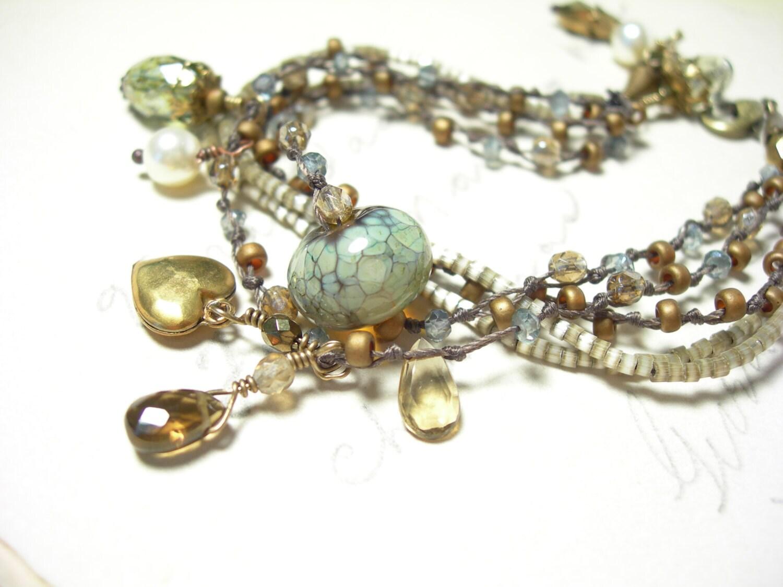 Blue opal glass bracelet handknotted beer quartz teal green pamelasjewelry smoky topaz - pamelasjewelry