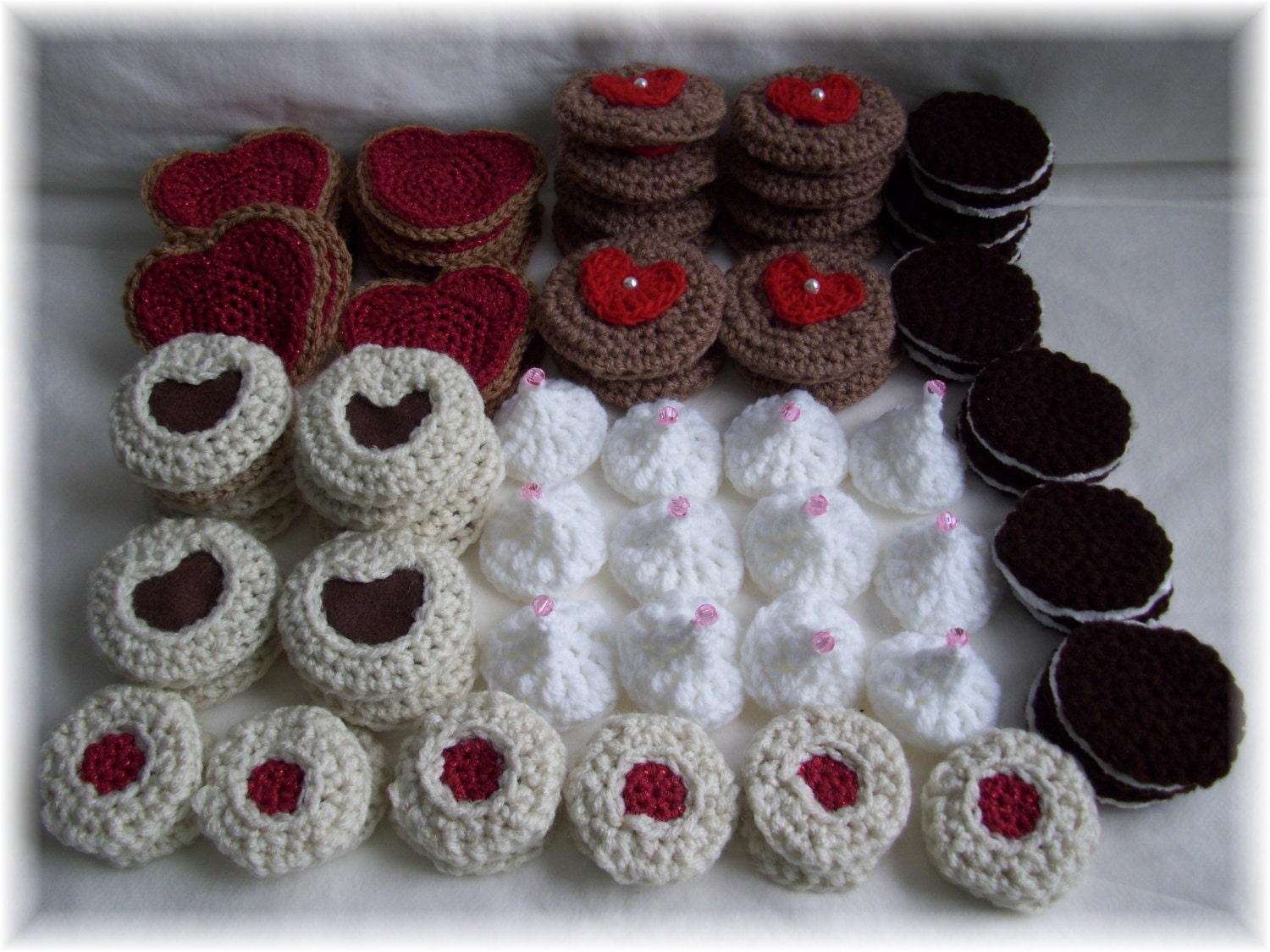 Valentine Crochet Cookie Packages....crochet play food