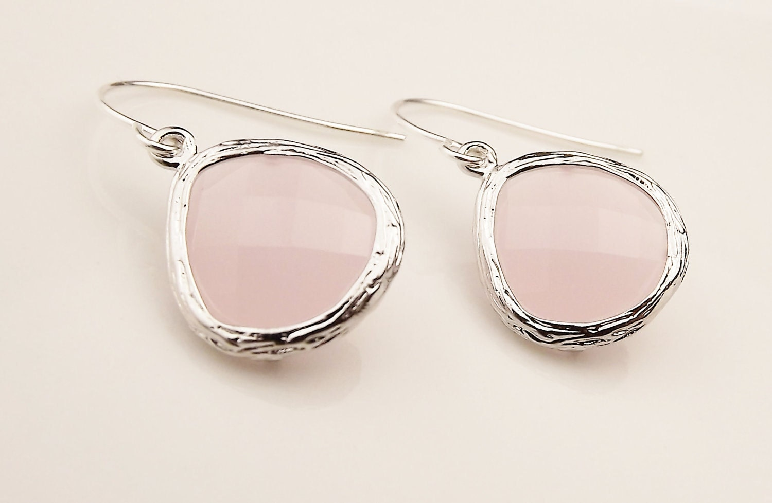 Soft Pink Faceted Teardrop Earrings - StephieMc