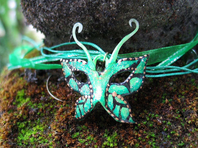 Mardi Gras Butterfly Fairy Mask- Emerald - FairytaleStore