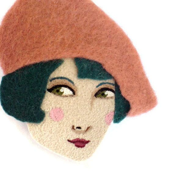 Felt brooch - Amelie, French girl, grapefruit, teal, Autumn, woman face