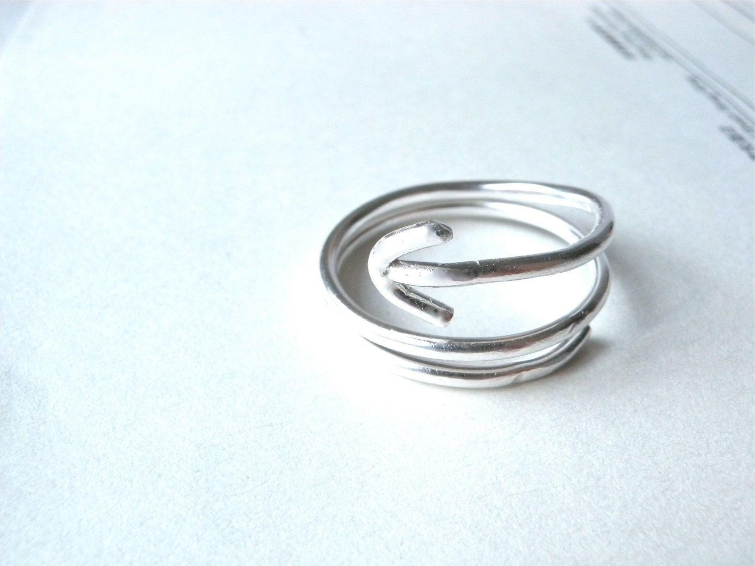 THE WAY Arrow Silver Ring  long arrow swirl by ChristianJessie