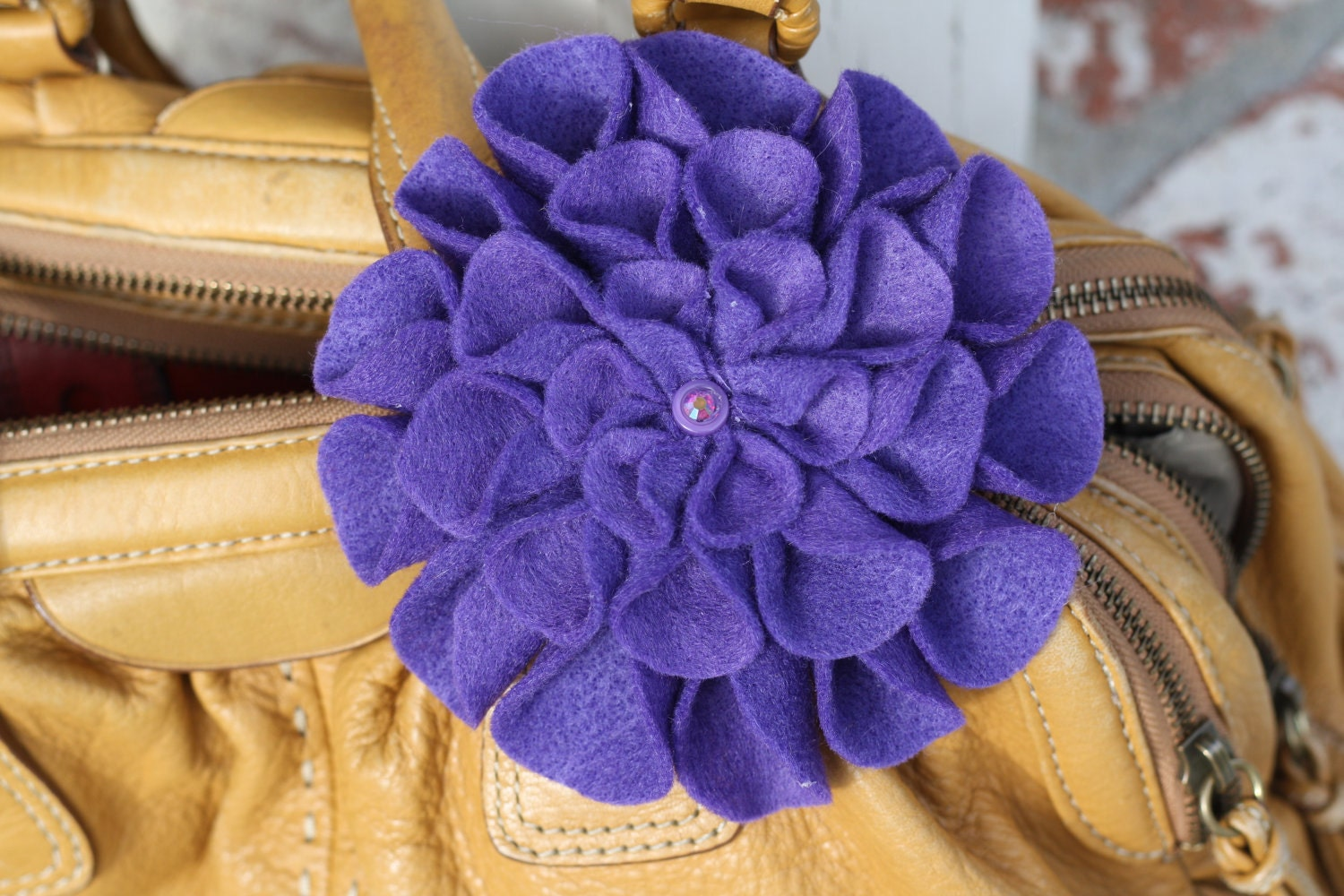 Lovely Purple Felt Fall Flower Pin Accessory