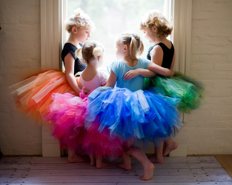 Handmade rainbow tutu (single tutu) pink, blue, green, or orange - Girl size 12 months - 6 - BettysFlowerShop