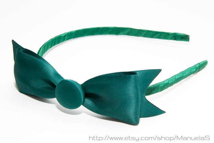 Call Me Jade -  green bow hairpiece, headband