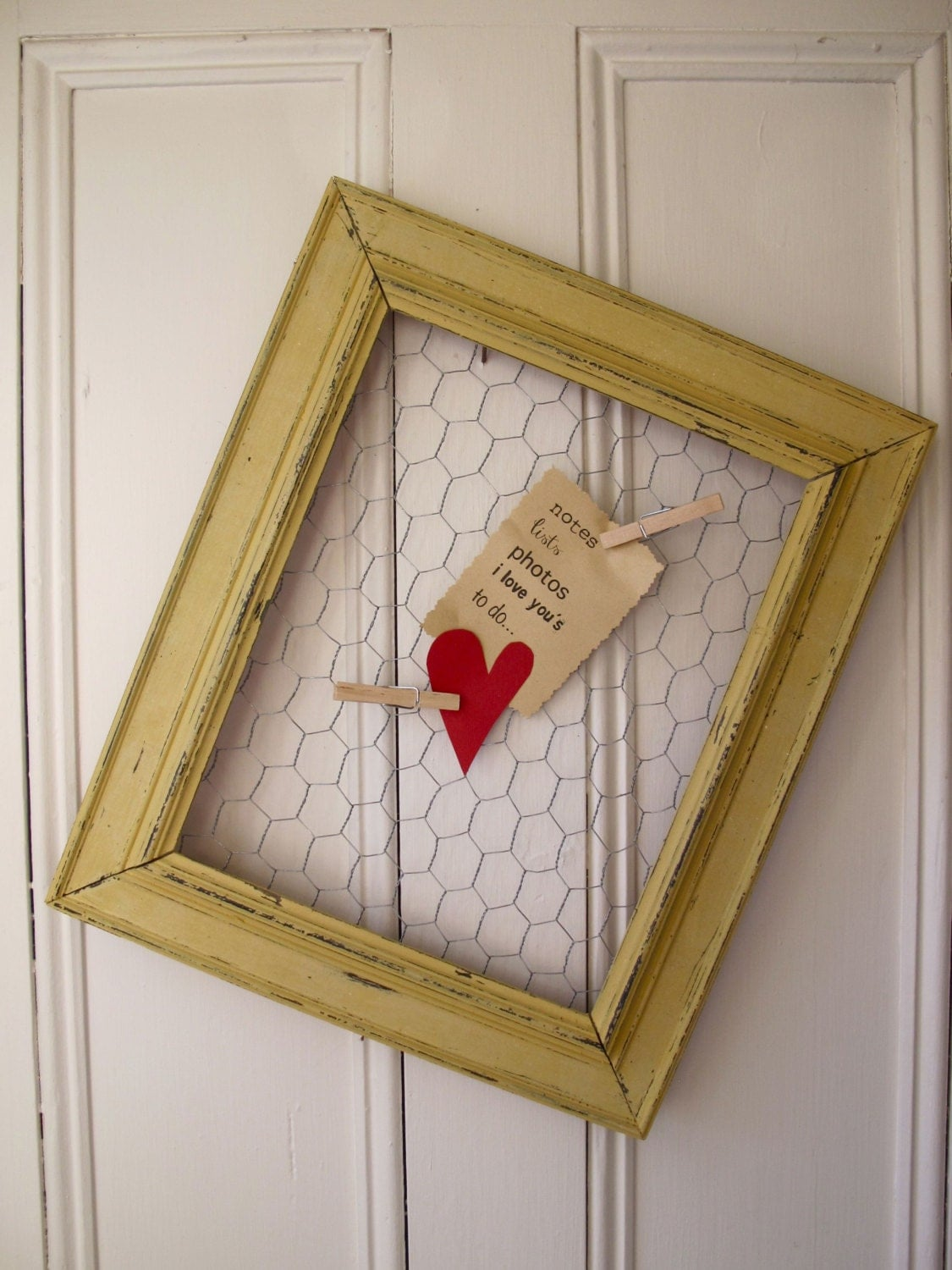 Recycled Frame, Chicken Wire, Wall Organizer, Message Memo Board, Hand Made, Hand Painted, Mustard Seed Yellow