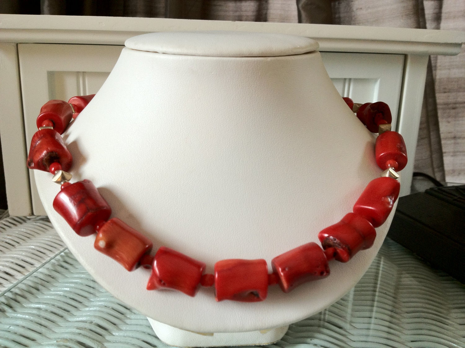 Sponge Coral Necklace with Sterling Silver Beads, Toggle, and Wire