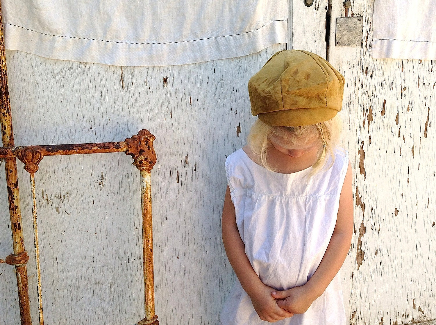 vintage light brown walnut tan leather newsboy cap hat halloween costume boho child boy girl fall colors winter - kateblossom