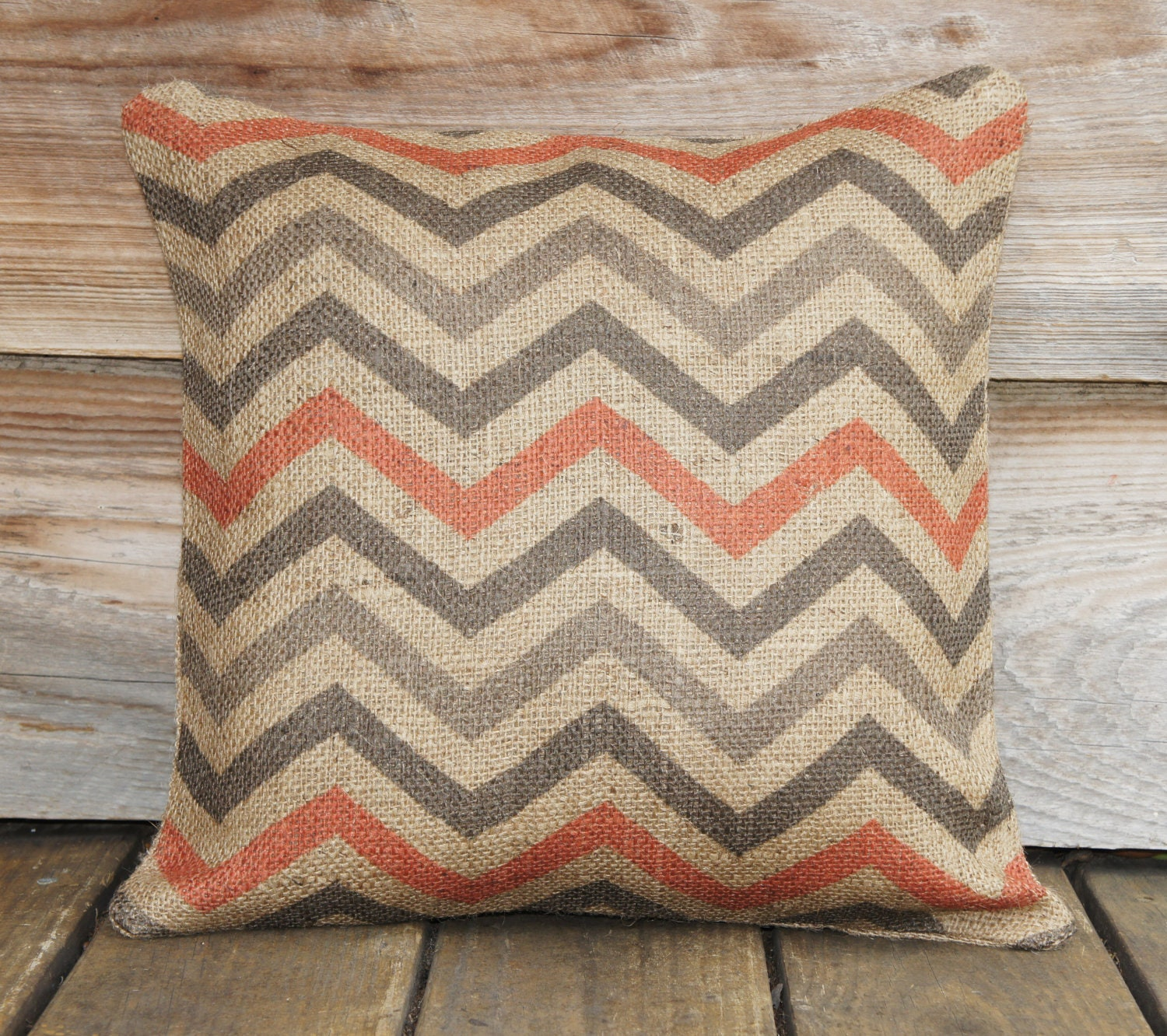 Halloween Orange Chevron Pillow Cover, Decorative Throw Pillow, Burlap Pillow, Feed Sack, Accent Pillow, Zig Zag 16x16