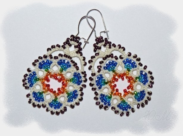 Rainbow Flowers - tatted lace earrings with beading