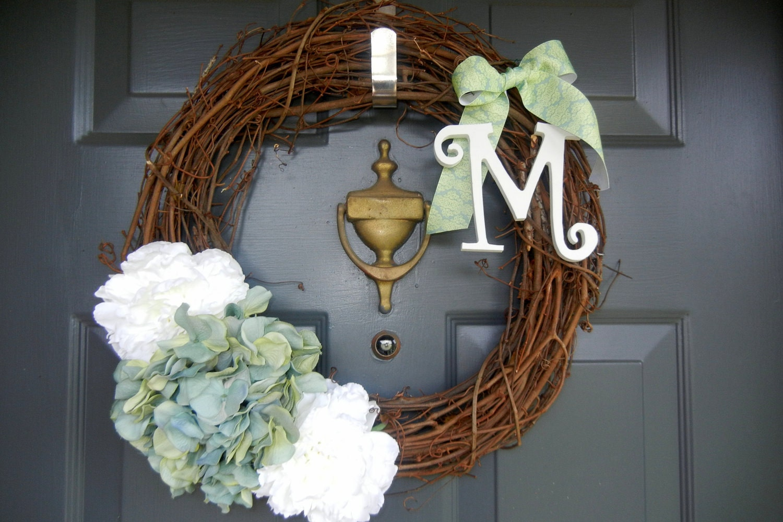 Spring Sea Mist Green Monogram Wreath