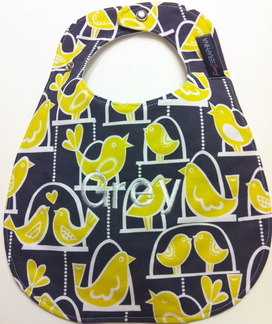 Monogrammed Baby Bib - Citron Birds on Gray - SweetSeraphina