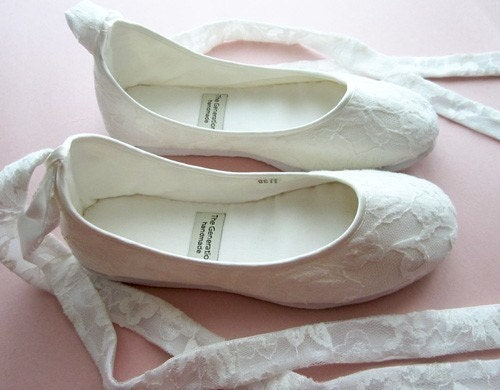 Ecochic Handmade Vegan Bridal Ballet Flats with Lace 902L