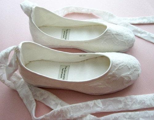 Ecochic Handmade Vegan Bridal Ballet Flats with Lace 902L