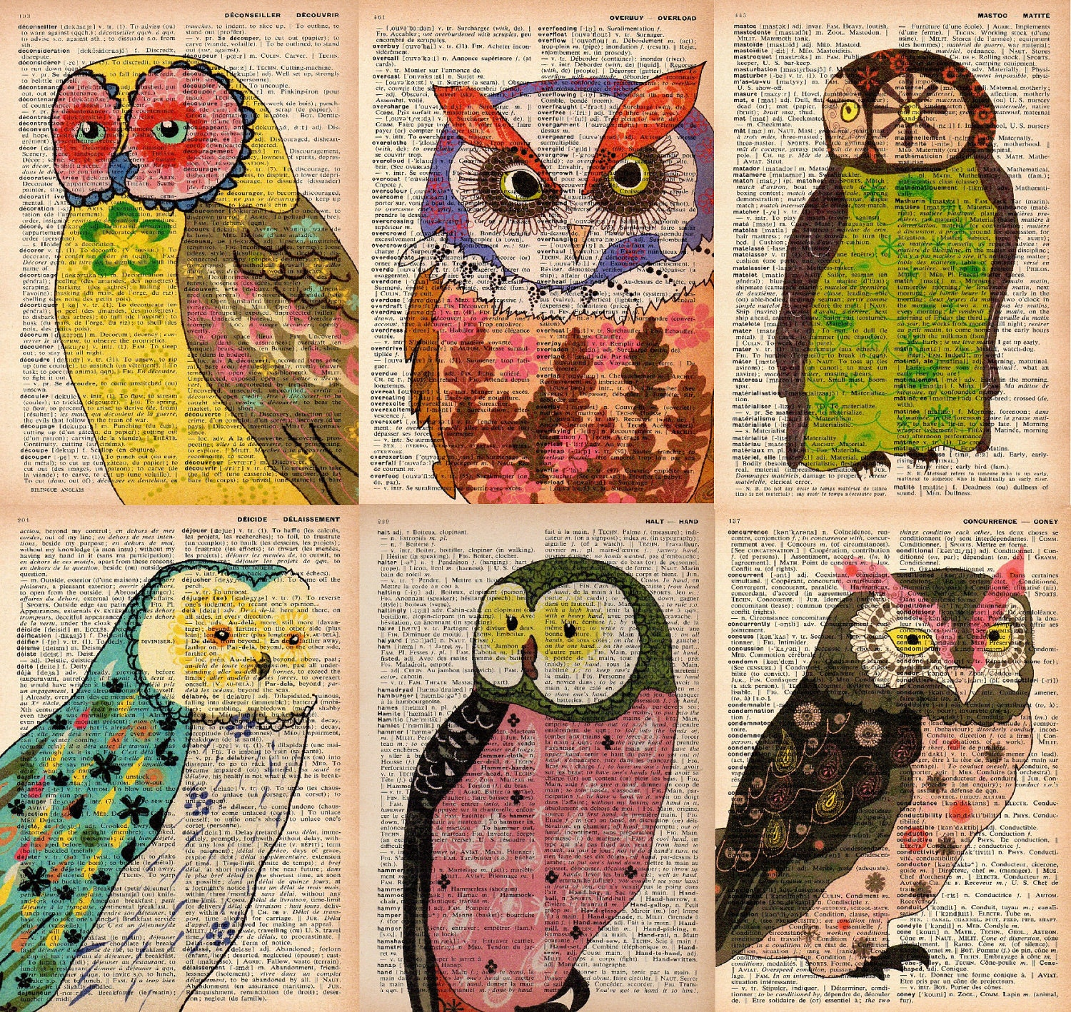 recycled book page prints - set of 6 - vintage dictionary print - owl print - owl art print