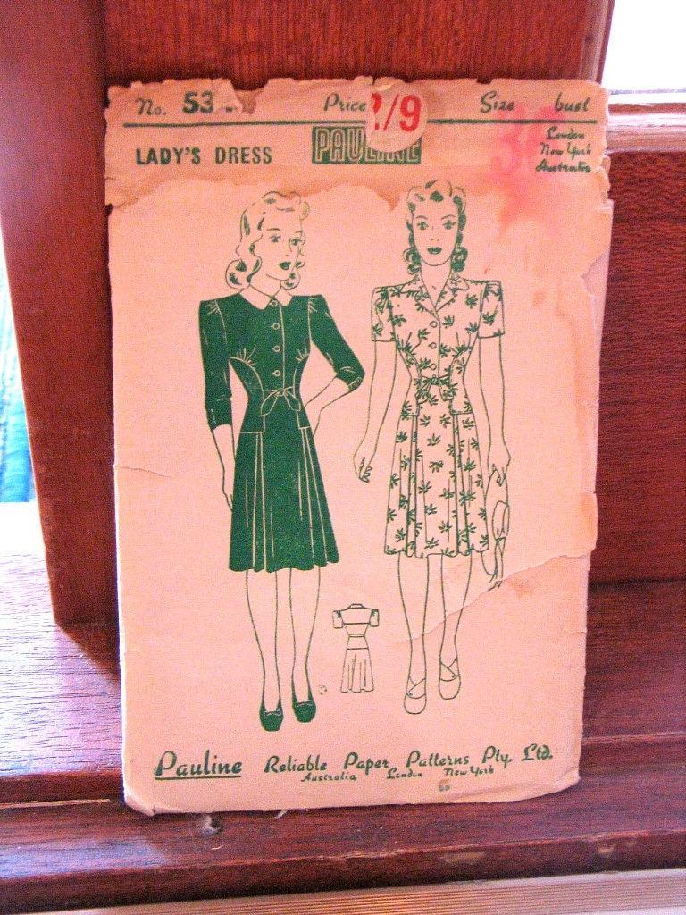 Vintage 40s 1940s Pauline Dress Pattern Bust 36 - Unused Factory Folds