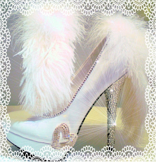 Bride Wedding Heels Stilettos Swarovski Ostrich