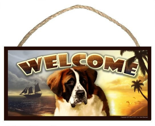 "Saint Bernard Summer Season 10"" x 5"" Wooden Welcome Sign"